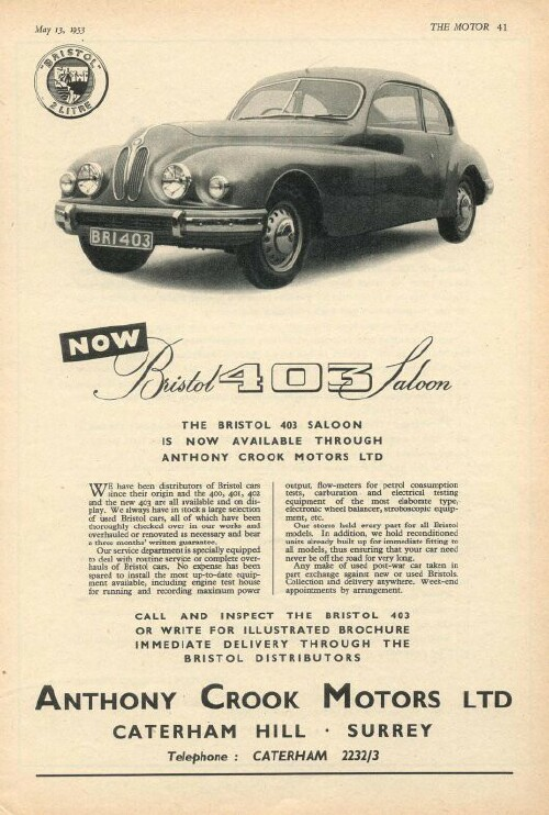 Bristol 401 And 403 Ads 1950 1953